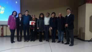 Roberto Cairoli, Alessandra Trojani, Giorgio Furlani e Enrico Barbieri con alcuni insegnanti del Liceo Bachelet